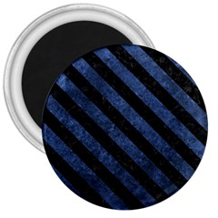 Stripes3 Black Marble & Blue Stone (r) 3  Magnet by trendistuff