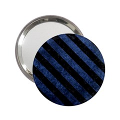 Stripes3 Black Marble & Blue Stone (r) 2 25  Handbag Mirror by trendistuff