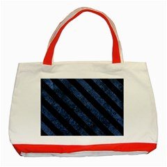 Stripes3 Black Marble & Blue Stone (r) Classic Tote Bag (red) by trendistuff