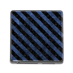 Stripes3 Black Marble & Blue Stone (r) Memory Card Reader (square) by trendistuff