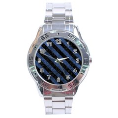 Stripes3 Black Marble & Blue Stone (r) Stainless Steel Analogue Watch by trendistuff
