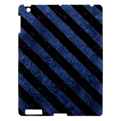 Stripes3 Black Marble & Blue Stone (r) Apple Ipad 3/4 Hardshell Case by trendistuff