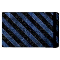 Stripes3 Black Marble & Blue Stone (r) Apple Ipad 3/4 Flip Case by trendistuff