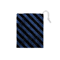 Stripes3 Black Marble & Blue Stone (r) Drawstring Pouch (small) by trendistuff