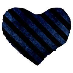 Stripes3 Black Marble & Blue Stone (r) Large 19  Premium Flano Heart Shape Cushion by trendistuff