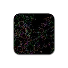 Boxs Black Background Pattern Rubber Coaster (square)  by Simbadda