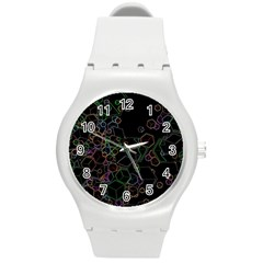 Boxs Black Background Pattern Round Plastic Sport Watch (m)