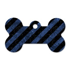 Stripes3 Black Marble & Blue Stone Dog Tag Bone (two Sides)