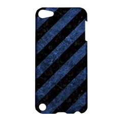 Stripes3 Black Marble & Blue Stone Apple Ipod Touch 5 Hardshell Case by trendistuff