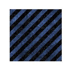 Stripes3 Black Marble & Blue Stone Small Satin Scarf (square) by trendistuff