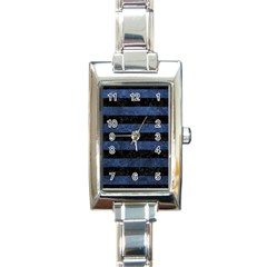 Stripes2 Black Marble & Blue Stone Rectangle Italian Charm Watch by trendistuff