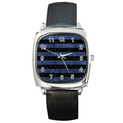 Stripes2 Black Marble & Blue Stone Square Metal Watch by trendistuff
