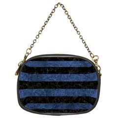 Stripes2 Black Marble & Blue Stone Chain Purse (two Sides) by trendistuff