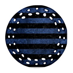 Stripes2 Black Marble & Blue Stone Round Filigree Ornament (two Sides) by trendistuff