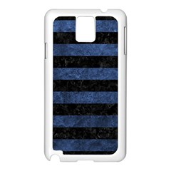 Stripes2 Black Marble & Blue Stone Samsung Galaxy Note 3 N9005 Case (white) by trendistuff