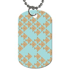 Fish Animals Brown Blue Line Sea Beach Dog Tag (one Side) by Alisyart