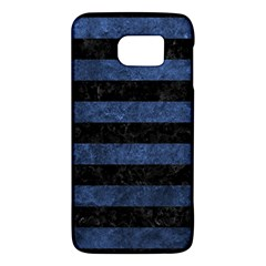 Stripes2 Black Marble & Blue Stone Samsung Galaxy S6 Hardshell Case  by trendistuff