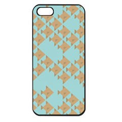 Fish Animals Brown Blue Line Sea Beach Apple Iphone 5 Seamless Case (black)