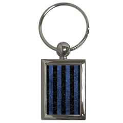 Stripes1 Black Marble & Blue Stone Key Chain (rectangle)