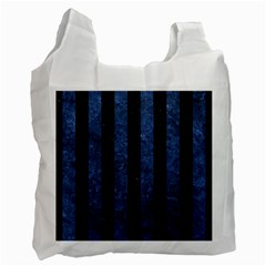Stripes1 Black Marble & Blue Stone Recycle Bag (one Side) by trendistuff