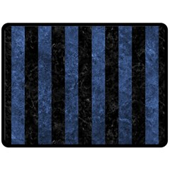 Stripes1 Black Marble & Blue Stone Fleece Blanket (large) by trendistuff