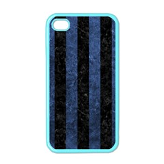 Stripes1 Black Marble & Blue Stone Apple Iphone 4 Case (color)