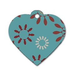 Fish Animals Star Brown Blue White Dog Tag Heart (one Side) by Alisyart