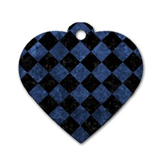 Square2 Black Marble & Blue Stone Dog Tag Heart (one Side) by trendistuff