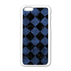 Square2 Black Marble & Blue Stone Apple Iphone 6/6s White Enamel Case