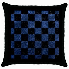 Square1 Black Marble & Blue Stone Throw Pillow Case (black) by trendistuff
