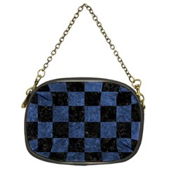 Square1 Black Marble & Blue Stone Chain Purse (two Sides) by trendistuff