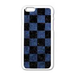 Square1 Black Marble & Blue Stone Apple Iphone 6/6s White Enamel Case by trendistuff