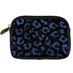 Skin5 Black Marble & Blue Stone (r) Digital Camera Leather Case by trendistuff