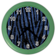 Skin4 Black Marble & Blue Stone (r) Color Wall Clock