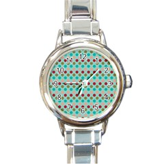 Large Circle Rainbow Dots Color Red Blue Pink Round Italian Charm Watch by Alisyart