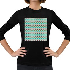 Large Circle Rainbow Dots Color Red Blue Pink Women s Long Sleeve Dark T Shirts