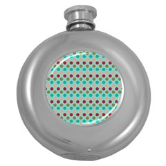 Large Circle Rainbow Dots Color Red Blue Pink Round Hip Flask (5 Oz)