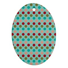 Large Circle Rainbow Dots Color Red Blue Pink Oval Ornament (two Sides) by Alisyart