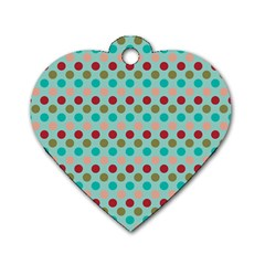 Large Circle Rainbow Dots Color Red Blue Pink Dog Tag Heart (one Side) by Alisyart