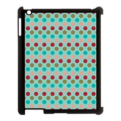 Large Circle Rainbow Dots Color Red Blue Pink Apple Ipad 3/4 Case (black)