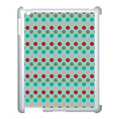 Large Circle Rainbow Dots Color Red Blue Pink Apple Ipad 3/4 Case (white)