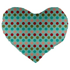 Large Circle Rainbow Dots Color Red Blue Pink Large 19  Premium Heart Shape Cushions by Alisyart