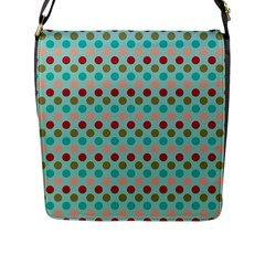 Large Circle Rainbow Dots Color Red Blue Pink Flap Messenger Bag (l)  by Alisyart