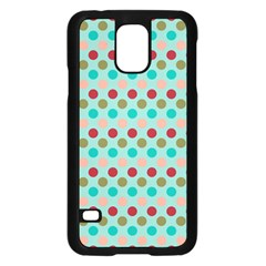 Large Circle Rainbow Dots Color Red Blue Pink Samsung Galaxy S5 Case (black) by Alisyart