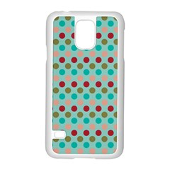 Large Circle Rainbow Dots Color Red Blue Pink Samsung Galaxy S5 Case (white)