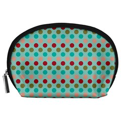 Large Circle Rainbow Dots Color Red Blue Pink Accessory Pouches (large)
