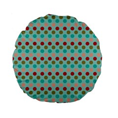 Large Circle Rainbow Dots Color Red Blue Pink Standard 15  Premium Flano Round Cushions