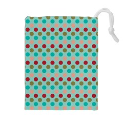 Large Circle Rainbow Dots Color Red Blue Pink Drawstring Pouches (extra Large)