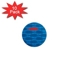 Fish Line Sea Beach Swim Red Blue 1  Mini Magnet (10 Pack)