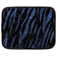 Skin3 Black Marble & Blue Stone Netbook Case (large) by trendistuff